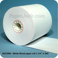 <b>#231805</b><br />3 1/4 in. x 240 ft.<br />White Bond Paper<br />Case of 50 rolls