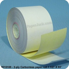 <b>#310105</b><br />1 1/2 in. x 93 ft.<br />2-Ply Carbonless Paper<br />Case of 100 rolls