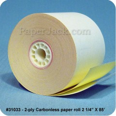 2-Ply Carbonless Paper Rolls, #31033 - Case of 100 rolls