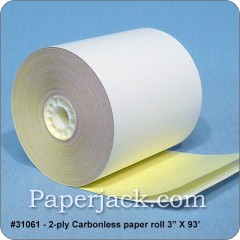 <b>#31061</b><br />3 in. x 93 ft.<br />2-Ply Carbonless Paper<br />Case of 50 rolls