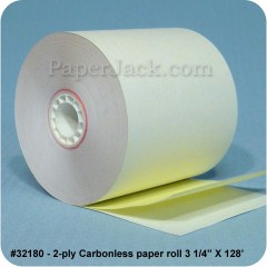 <b>#32180</b><br />3 1/4 in. x 128 ft.<br />2-Ply Carbonless Paper<br />Case of 50 rolls