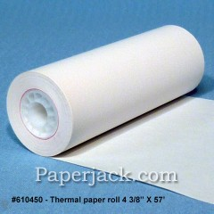 <b>#610450</b><br />4 3/8 in. x 57 ft.<br />Thermal Paper<br />Case of 50 rolls