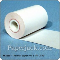 <b>#62250</b><br />2 1/4 in. x 57 ft.<br />Thermal Paper<br />Case of 24 rolls