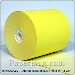 <b>#6235canary</b><br />3 1/8 in. x 235 ft.<br />CANARY Thermal Paper<br />Case of 50 rolls