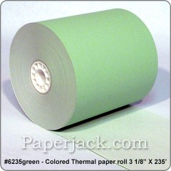 <b>#6235green</b><br />3 1/8 in. x 235 ft.<br />GREEN Thermal Paper<br />Case of 50 rolls