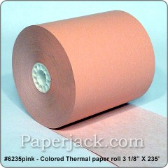 <b>#6235pink</b><br />3 1/8 in. x 235 ft.<br />PINK Thermal Paper<br />Case of 50 rolls